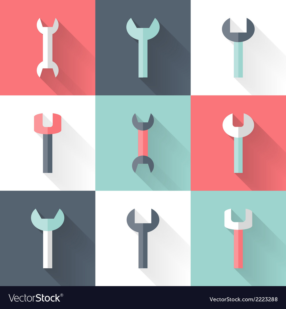 Wrench flat icons set vector | Price: 1 Credit (USD $1)