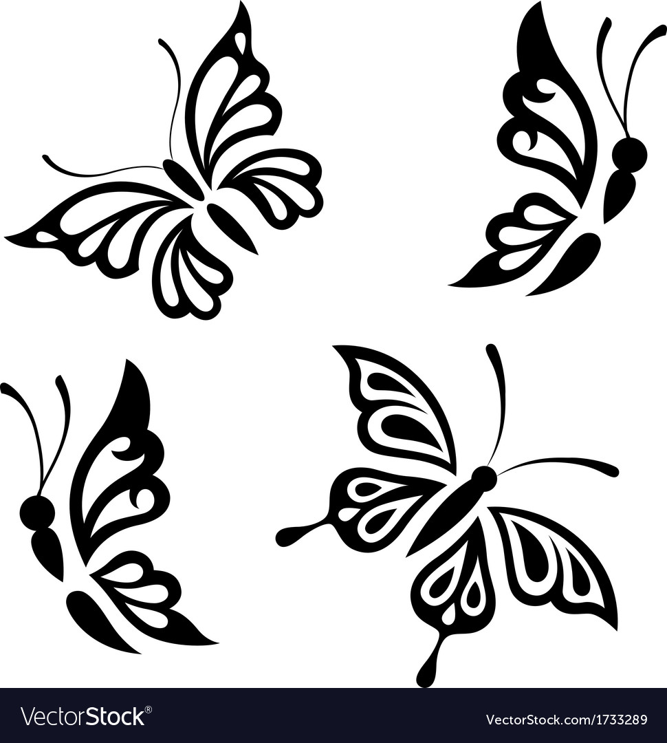 Collection black and white butterflies vector | Price: 1 Credit (USD $1)