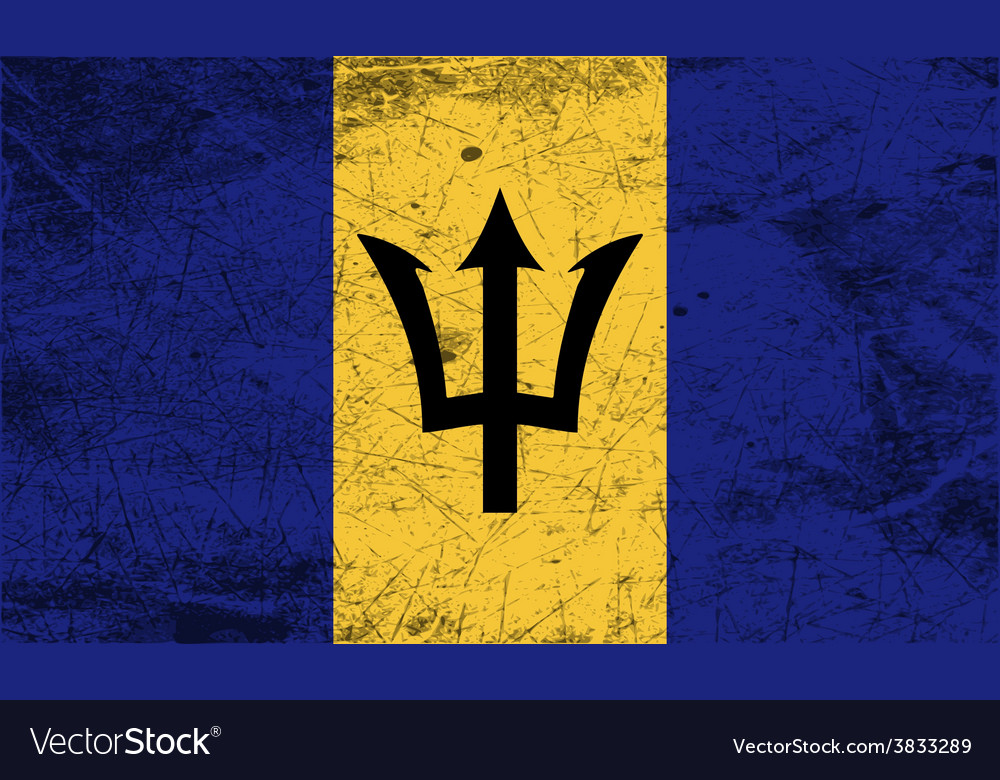 Flag of barbados with old texture vector | Price: 1 Credit (USD $1)
