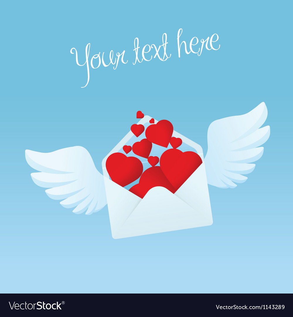 Flying envelope with wings filled with red hearts vector | Price: 1 Credit (USD $1)