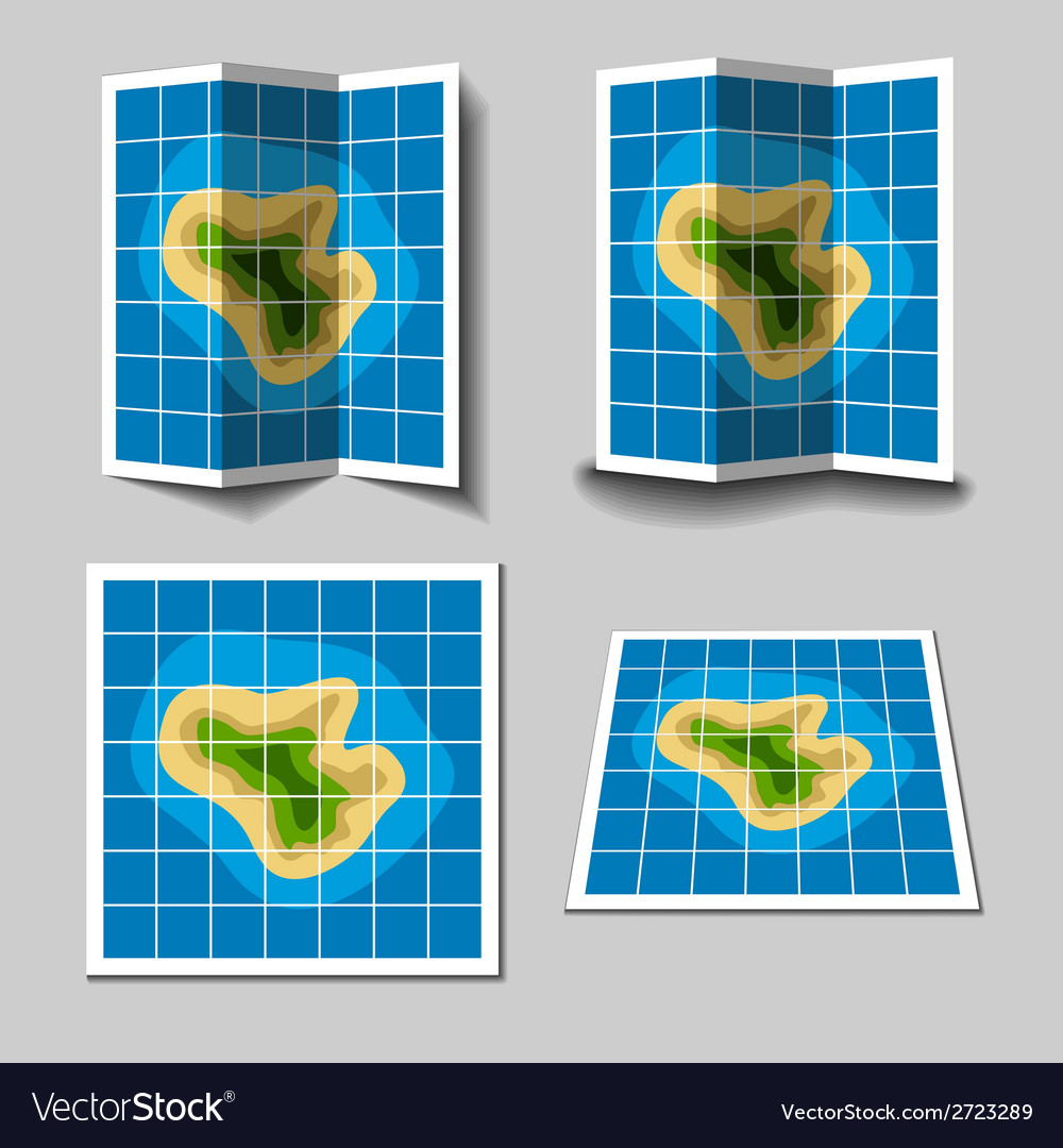 Island map icons vector | Price: 1 Credit (USD $1)