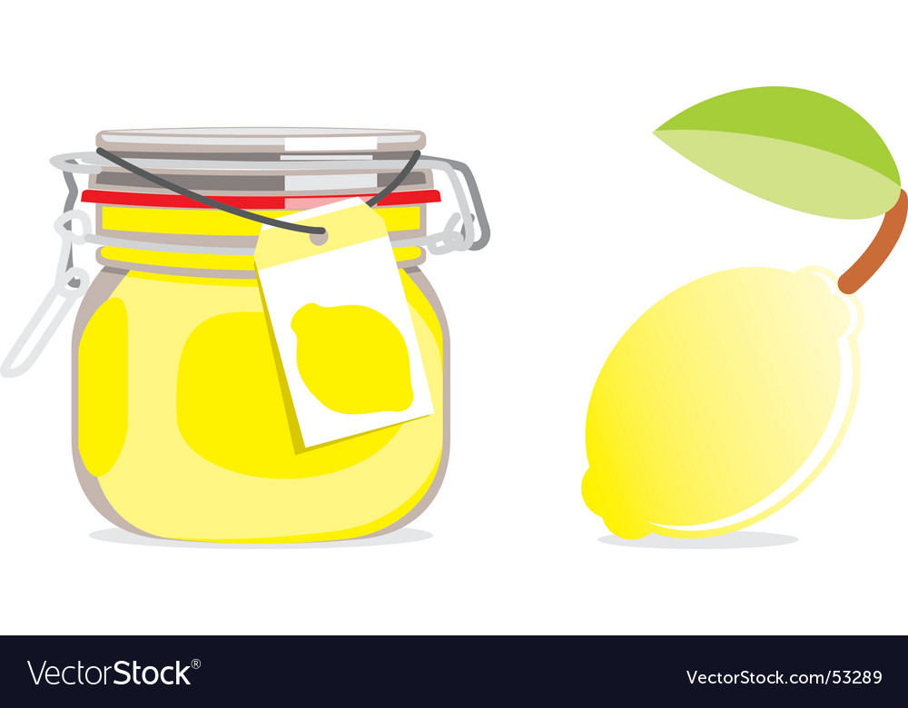 Lemon jam jar and fruit vector | Price: 1 Credit (USD $1)