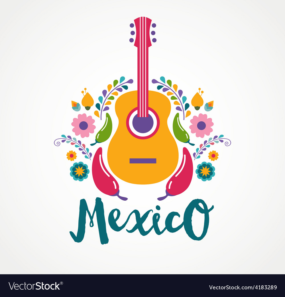 Mexico music and food elements vector | Price: 1 Credit (USD $1)