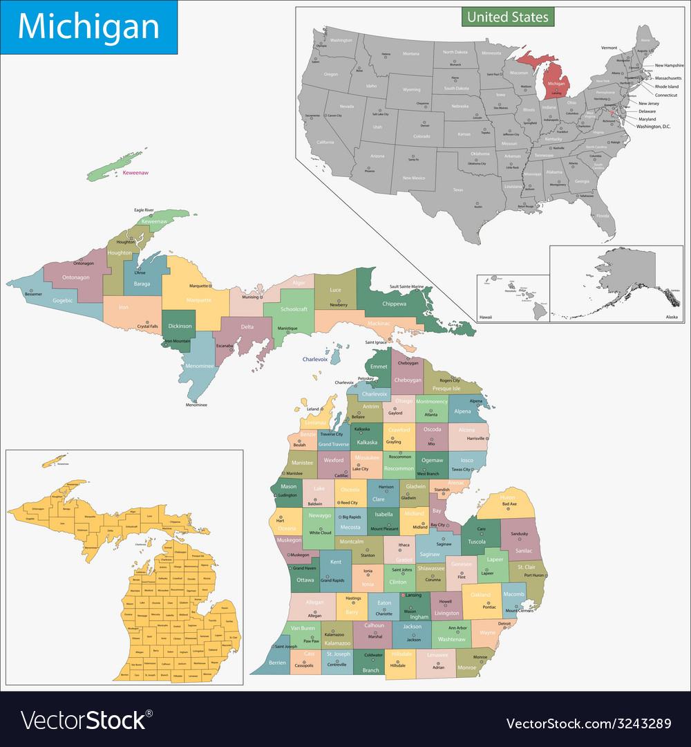 Michigan map vector | Price: 1 Credit (USD $1)