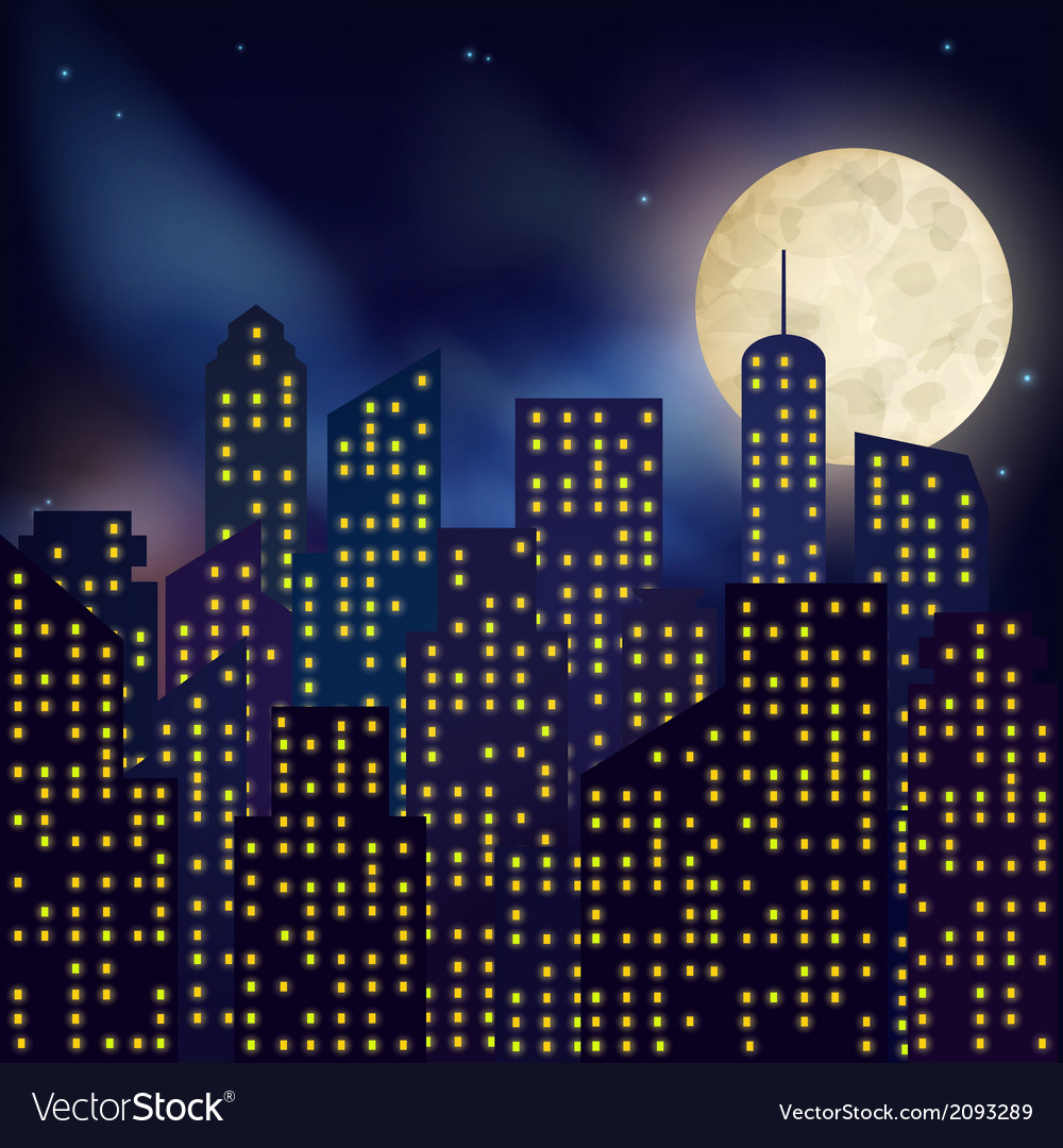 Night city poster vector | Price: 1 Credit (USD $1)