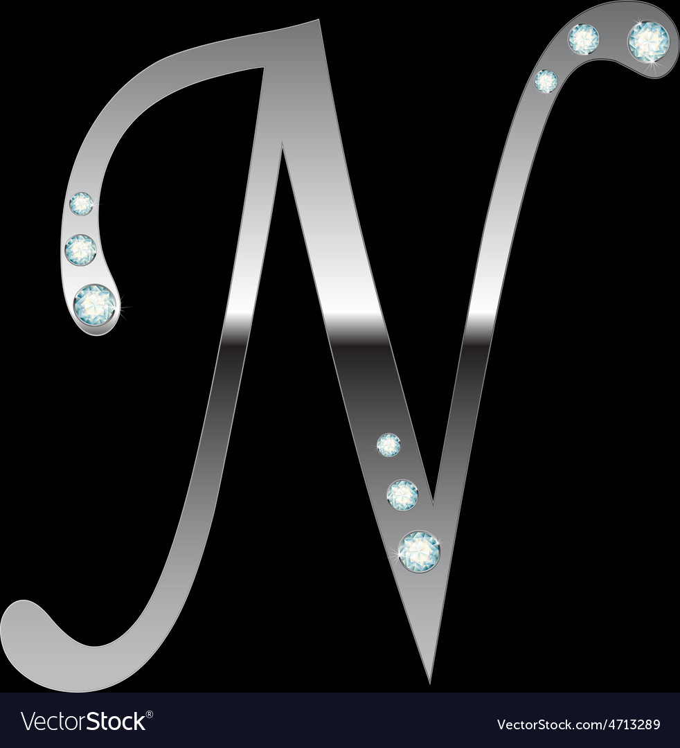 Silver metallic letter n vector | Price: 1 Credit (USD $1)