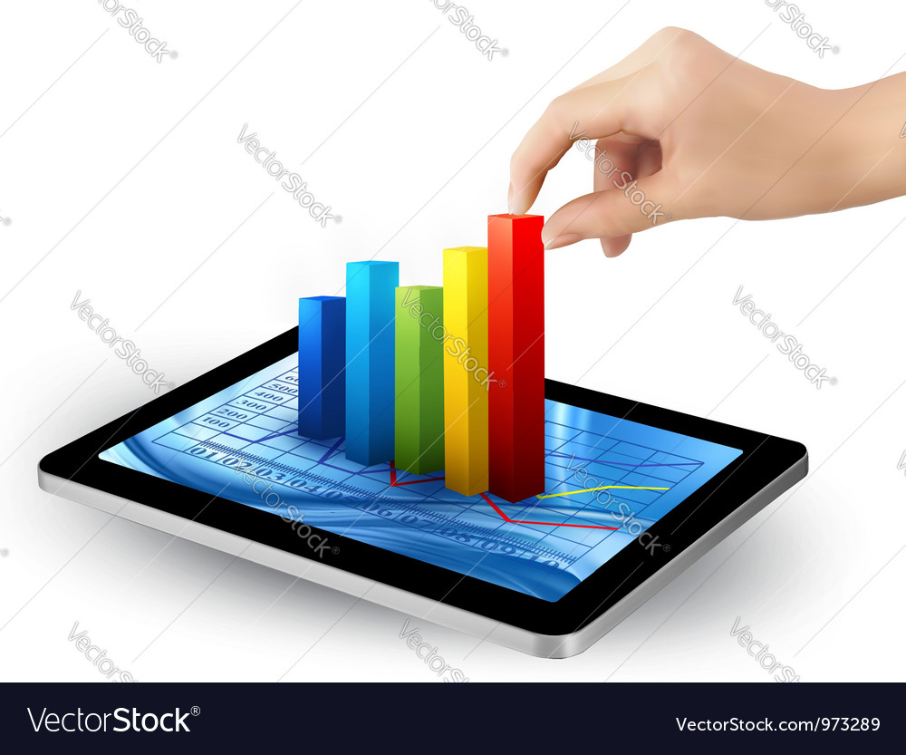 Tablet with colorful graph and women hand vector | Price: 3 Credit (USD $3)
