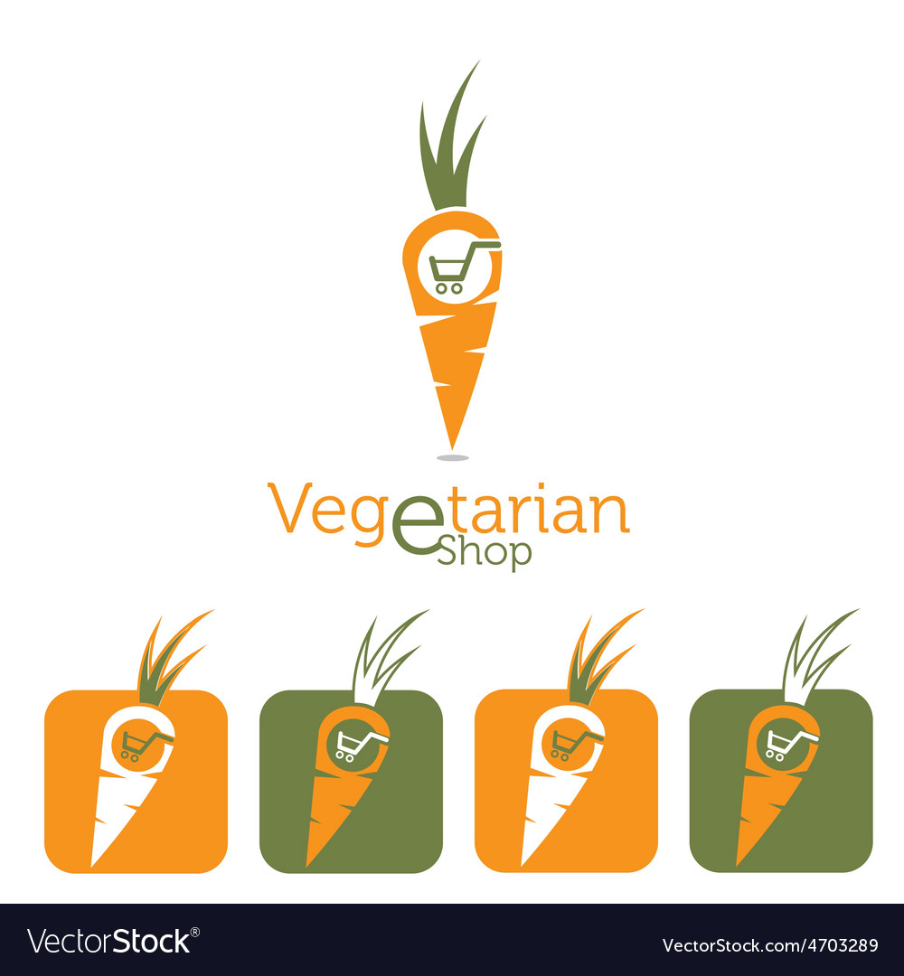 Vegetarian e shop with carrot and shopping cart vector | Price: 1 Credit (USD $1)
