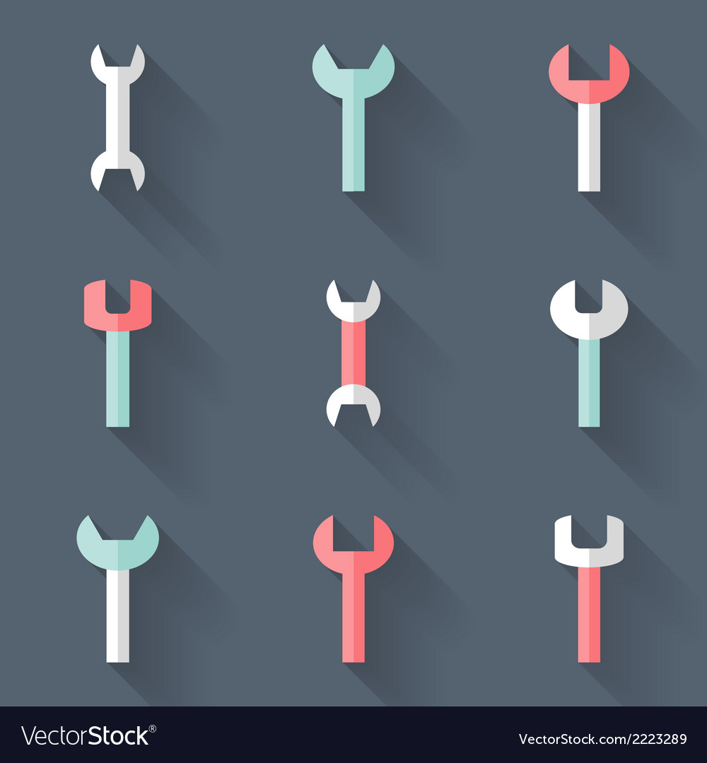 Wrench icons set over blue vector | Price: 1 Credit (USD $1)