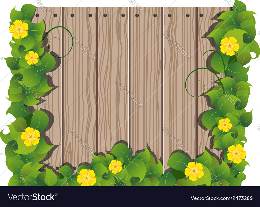Yellow flowers and wooden fence vector | Price: 1 Credit (USD $1)