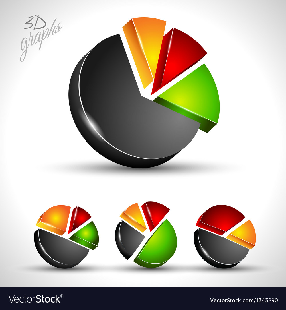 3d pie diagram for infographic or percentage data vector   Price: 1 Credit (USD $1)