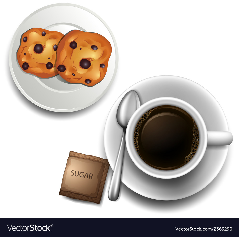 A topview of a cup of coffee and a plate of vector | Price: 1 Credit (USD $1)
