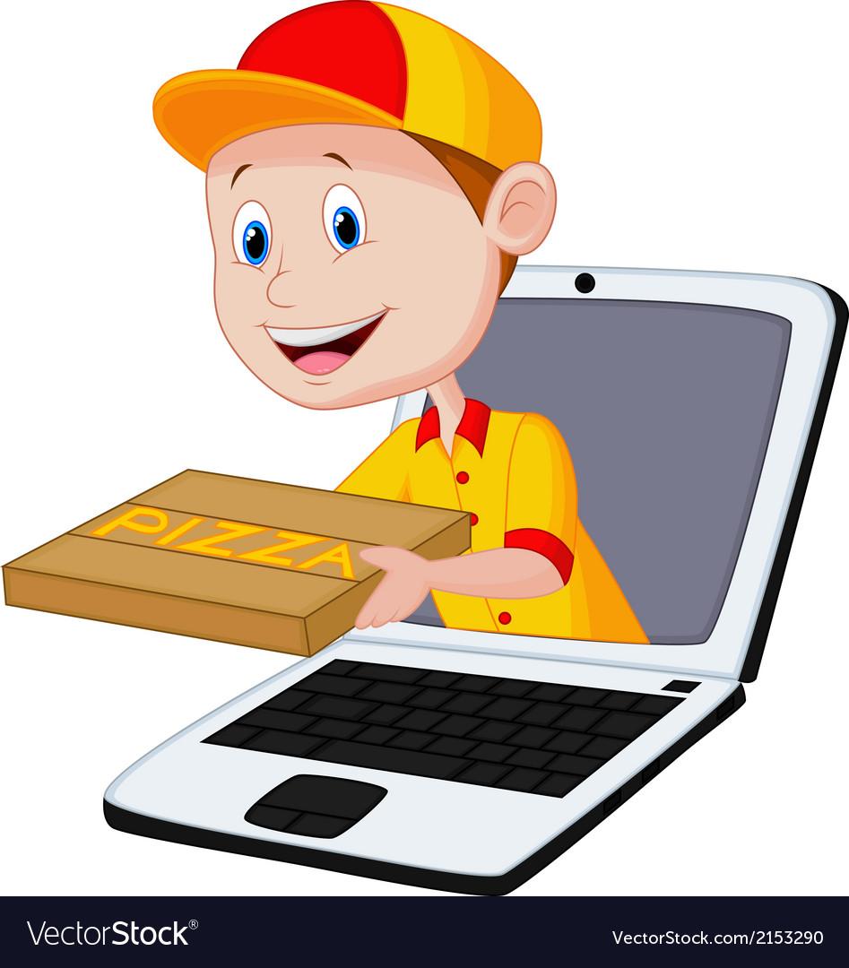 Cartoon pizza delivery online vector   Price: 1 Credit (USD $1)