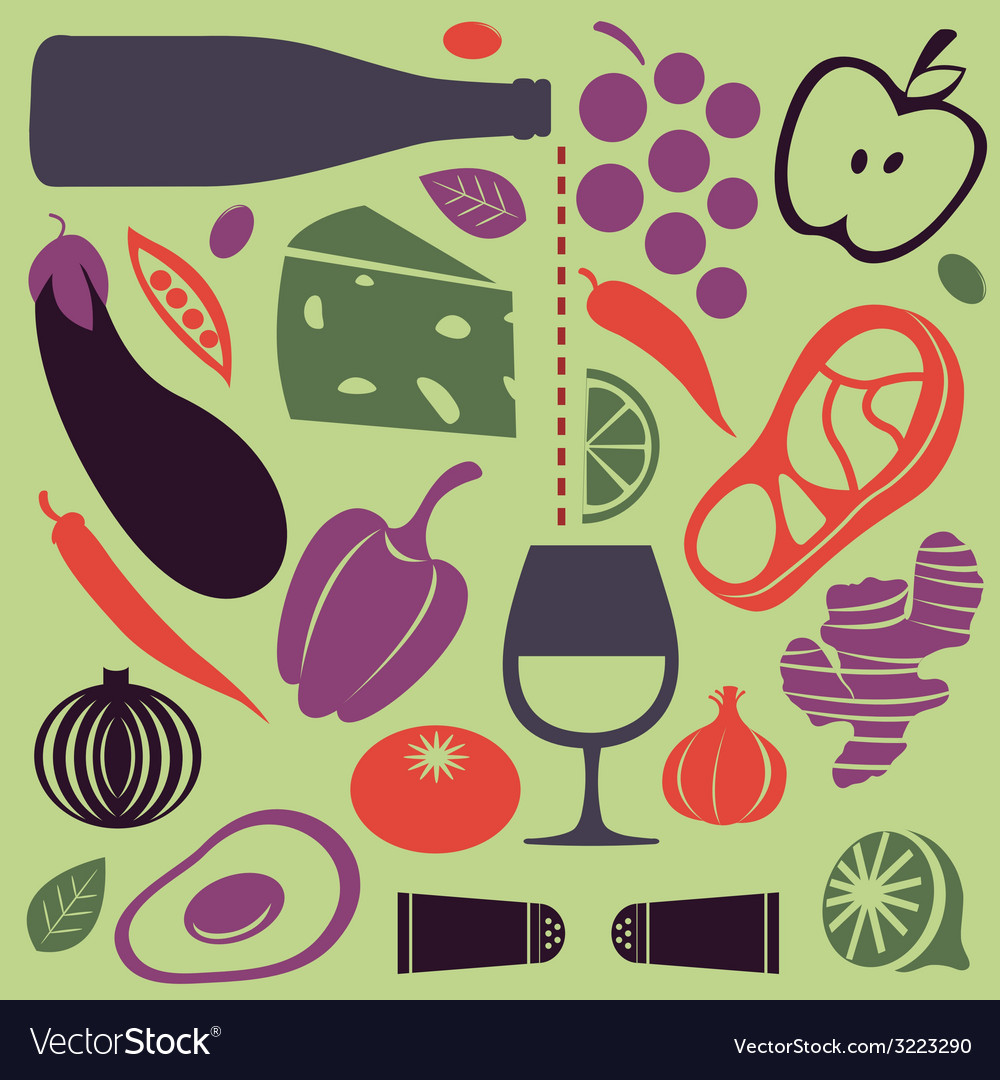 Delicious cooking set vector | Price: 1 Credit (USD $1)