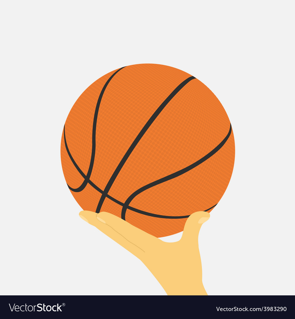 Hand with basketball ball vector | Price: 1 Credit (USD $1)