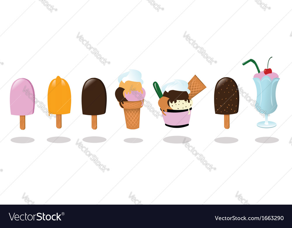 Ice creams and a milk shake vector | Price: 1 Credit (USD $1)