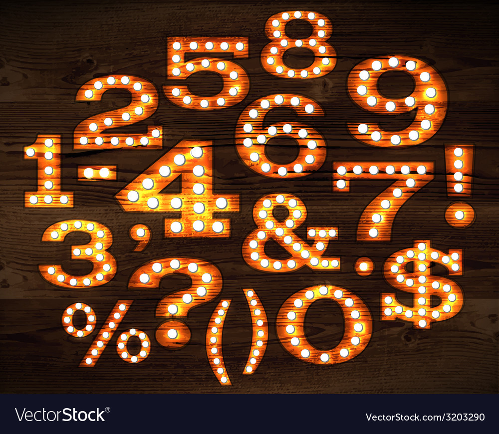 Lamp numbers and symbols old style vector | Price: 1 Credit (USD $1)