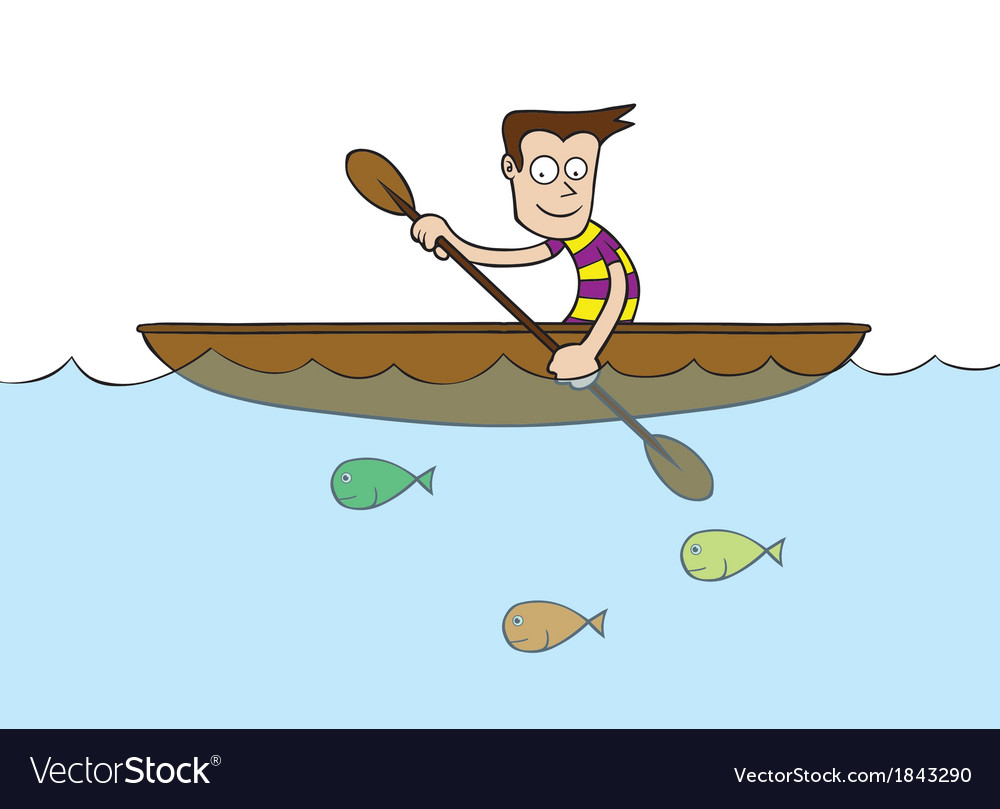 Man at rowboat vector | Price: 1 Credit (USD $1)