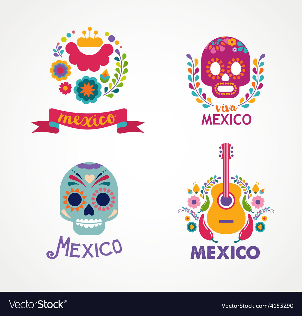 Mexico music skull and food elements vector | Price: 1 Credit (USD $1)