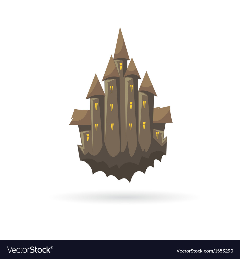 Old castle with a ghoasts isolated vector | Price: 1 Credit (USD $1)