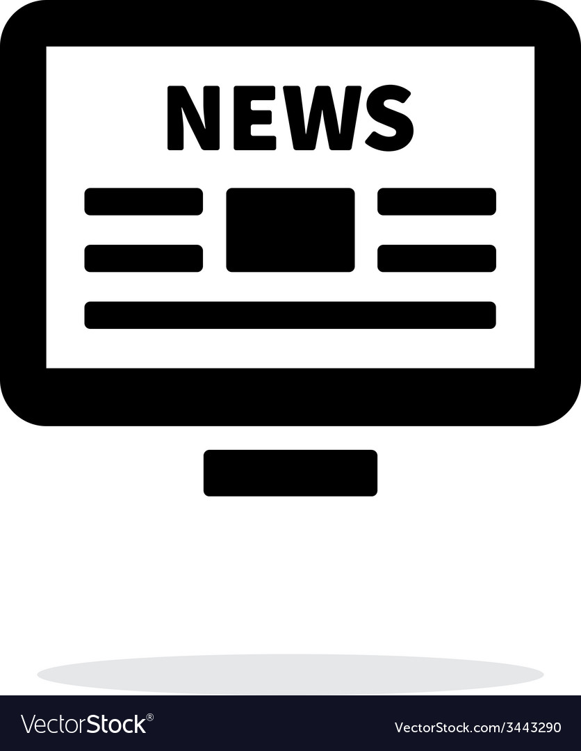 Online news desktop pc newspaper icon on white vector | Price: 1 Credit (USD $1)