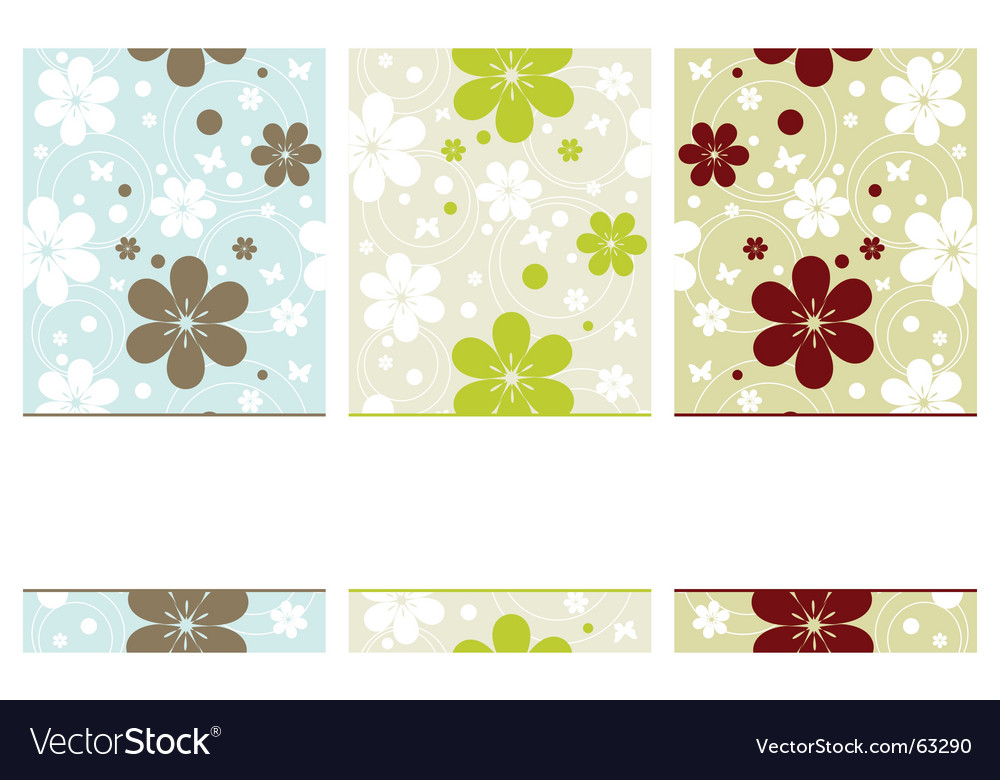 Retro banners with flowers vector | Price: 1 Credit (USD $1)