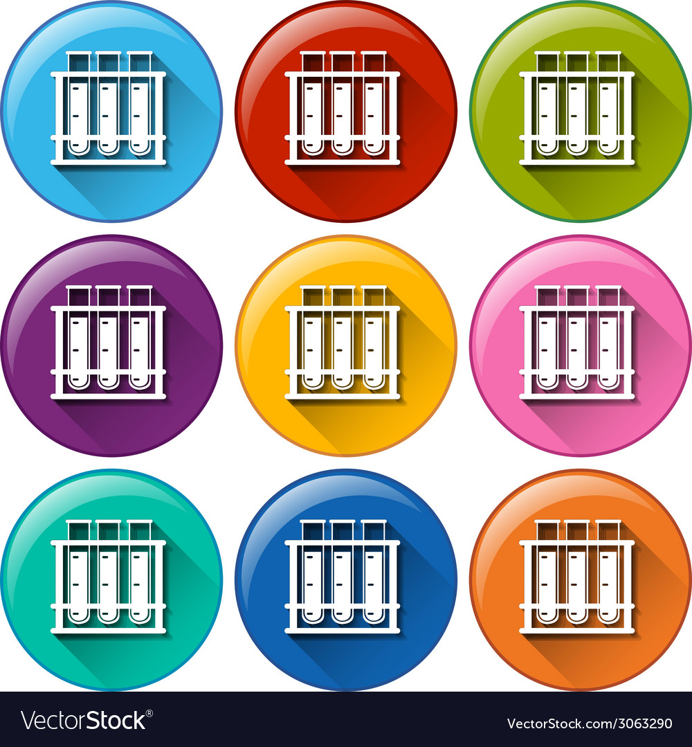 Round icons with testtubes in a rack vector | Price: 1 Credit (USD $1)