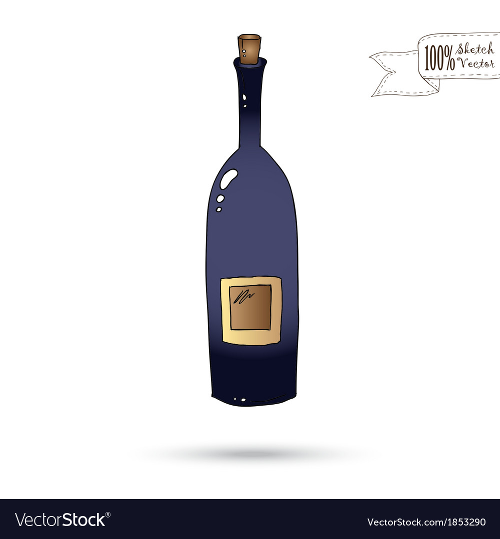 Sketch of wine bottle isolated on the white vector | Price: 1 Credit (USD $1)