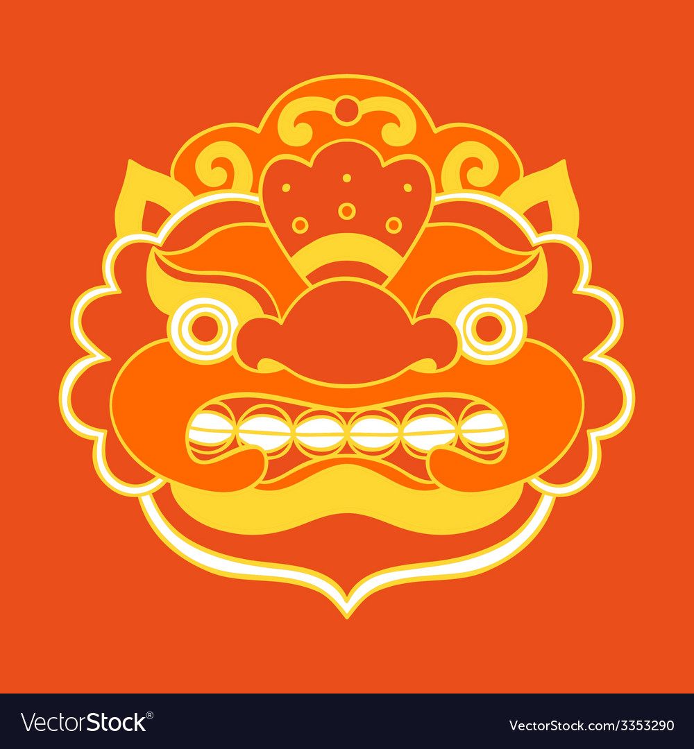 Traditional balinese mask barong vector | Price: 1 Credit (USD $1)