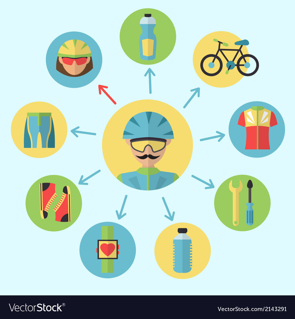 Bicycle icons set vector | Price: 1 Credit (USD $1)