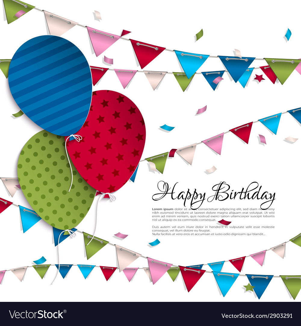 Birthday card with balloons and bunting flags vector | Price: 1 Credit (USD $1)