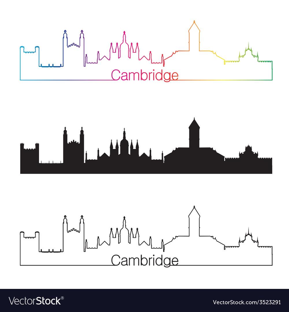 Cambridge skyline linear style with rainbow vector | Price: 1 Credit (USD $1)