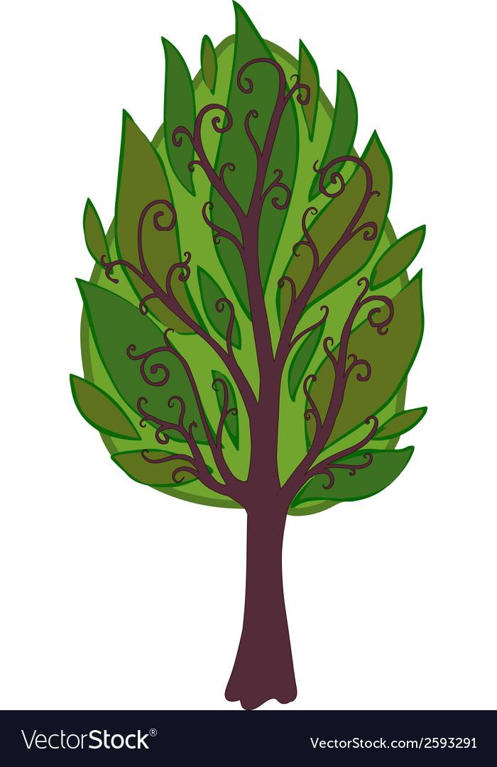 Cartoon tree isolated vector   Price: 1 Credit (USD $1)