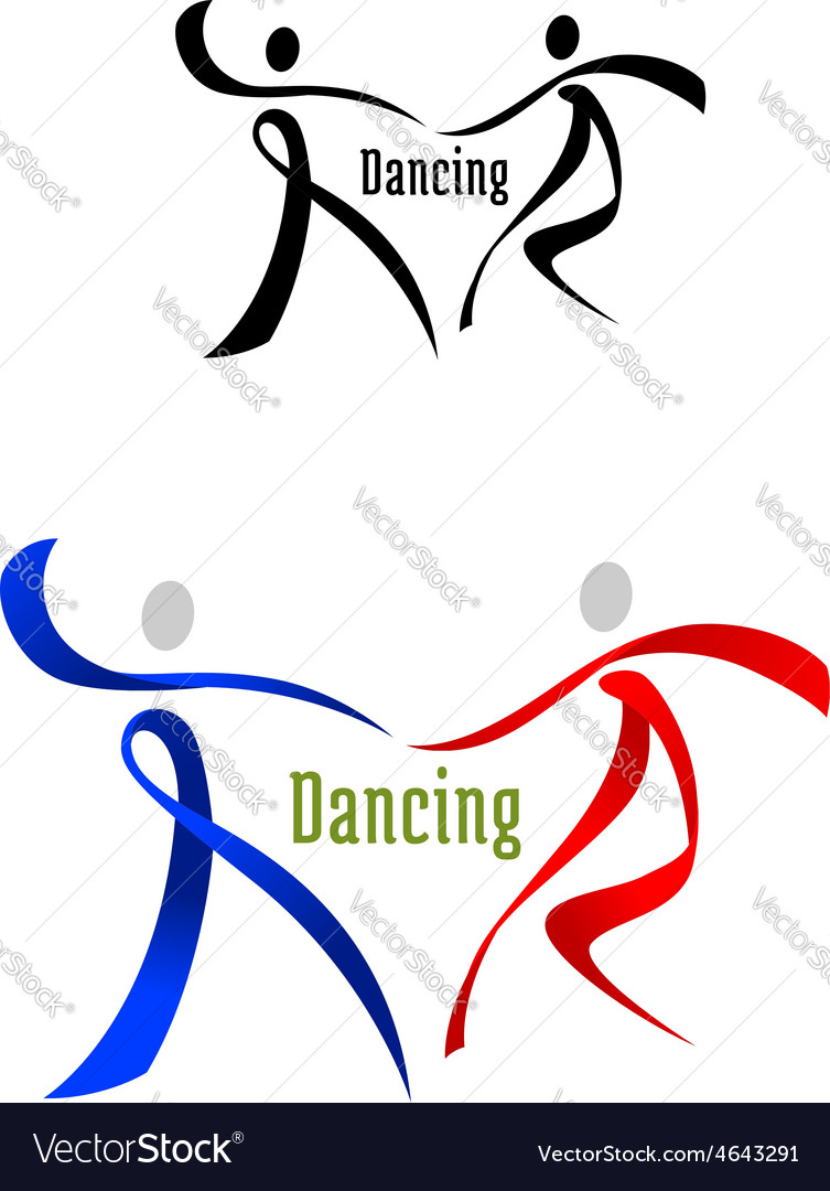 Dancing partner emblem in ribbon style vector | Price: 1 Credit (USD $1)