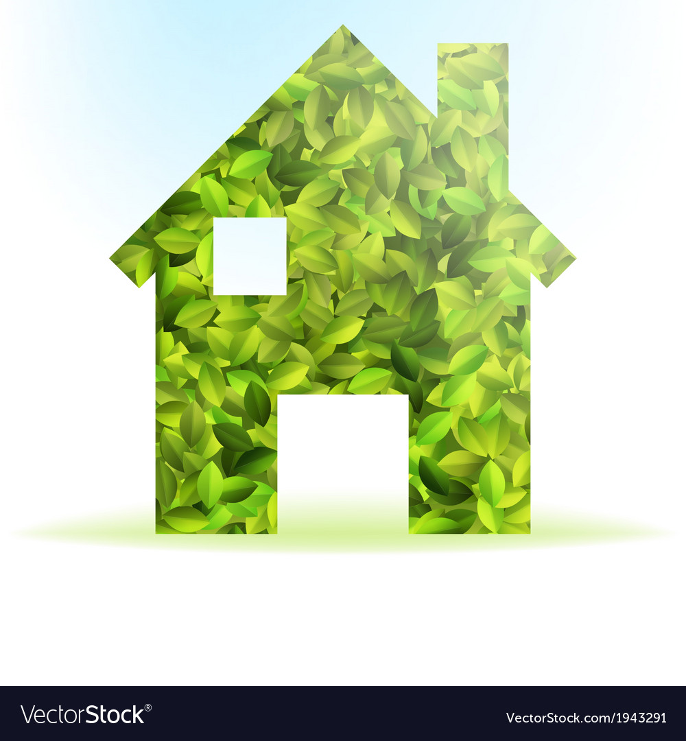 Eco house icon with green leaves  eps10 vector   Price: 1 Credit (USD $1)