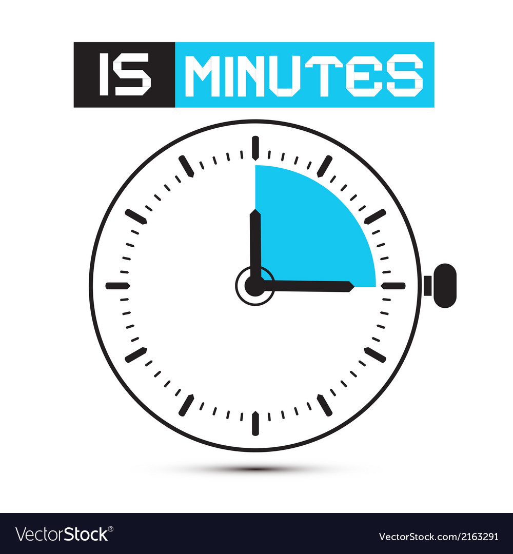 Fifteen minutes stop watch  clock vector