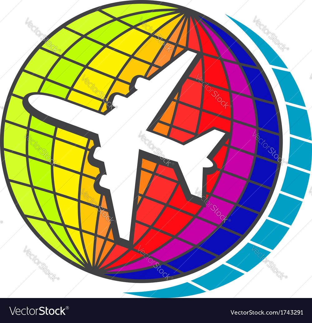 Flying airplane on earth globe vector | Price: 1 Credit (USD $1)