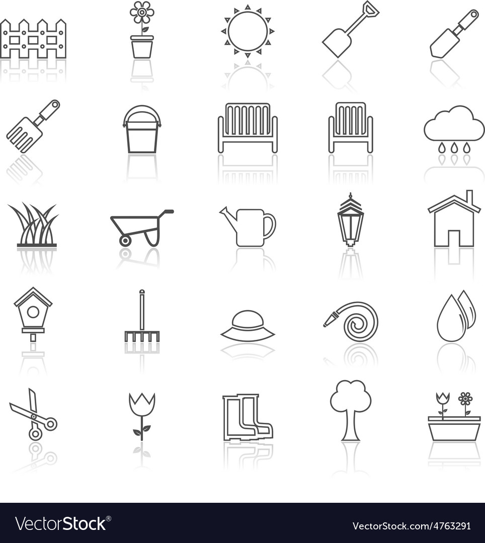Gardening line icons with reflcet on white vector | Price: 1 Credit (USD $1)