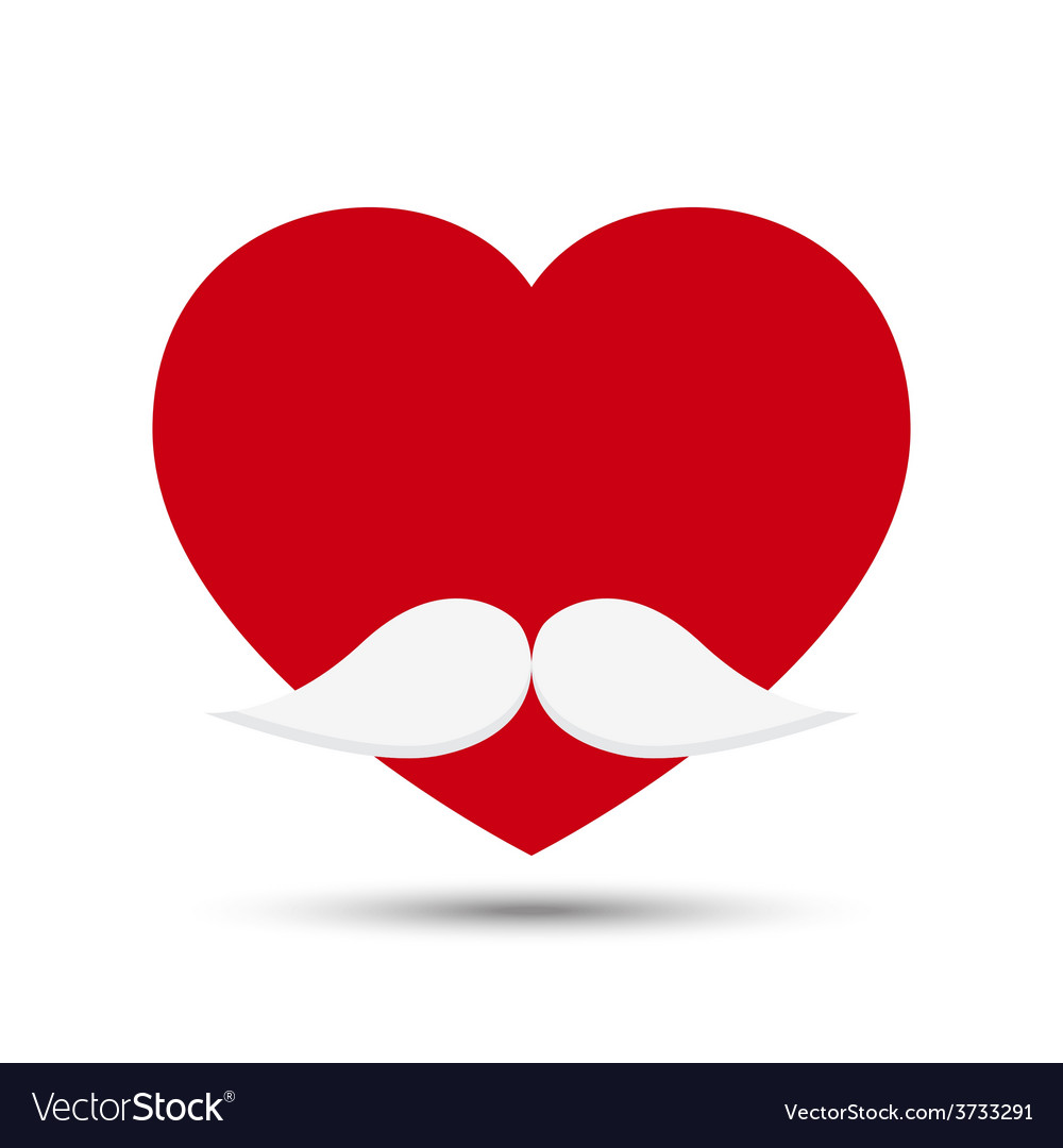 Love heart with mustache vector | Price: 1 Credit (USD $1)