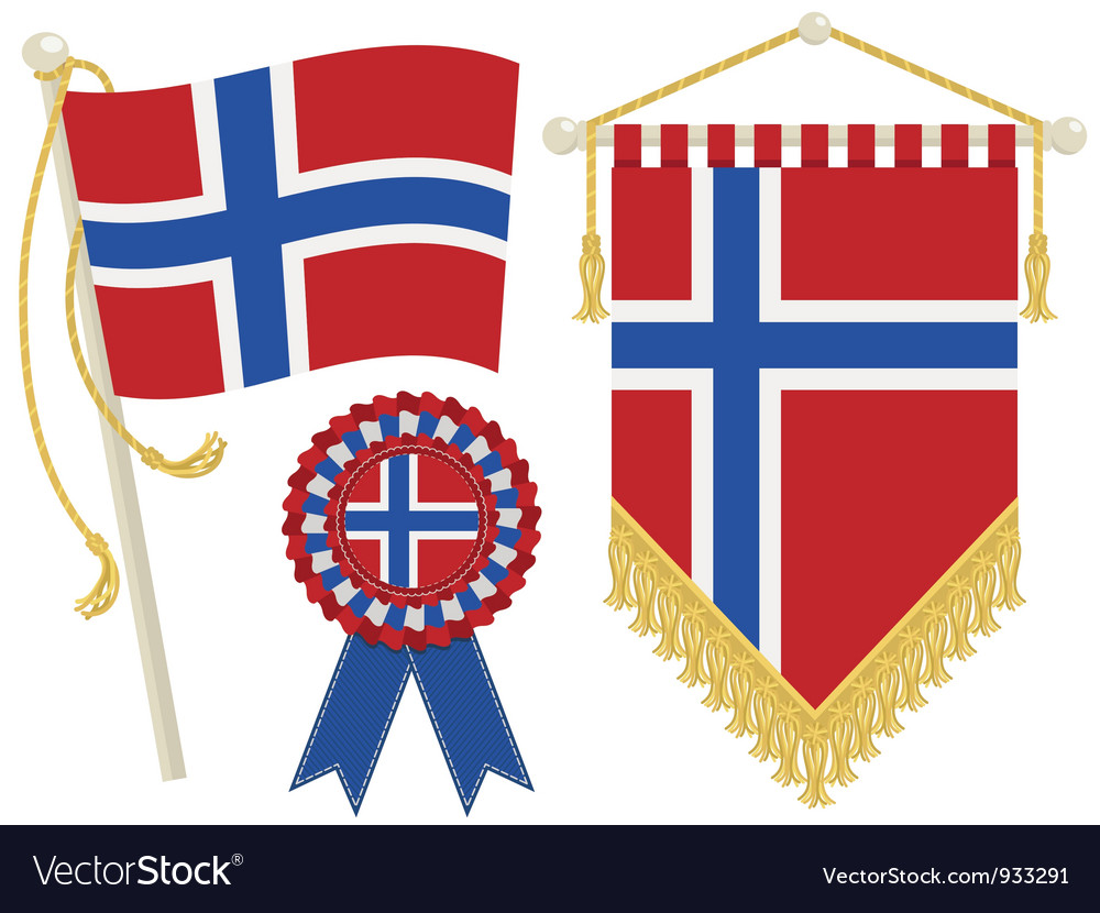 Norway flags vector | Price: 1 Credit (USD $1)