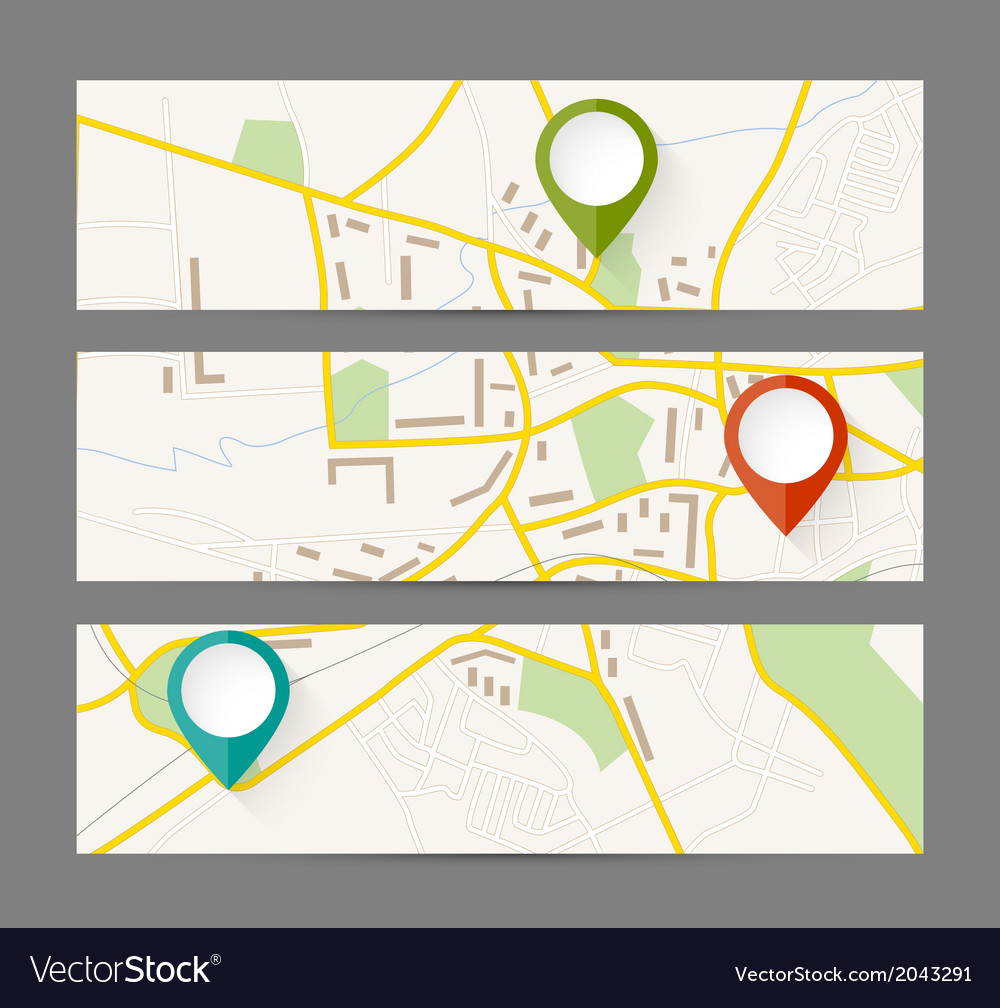 Set of banners with map and color pin pointer vector | Price: 1 Credit (USD $1)