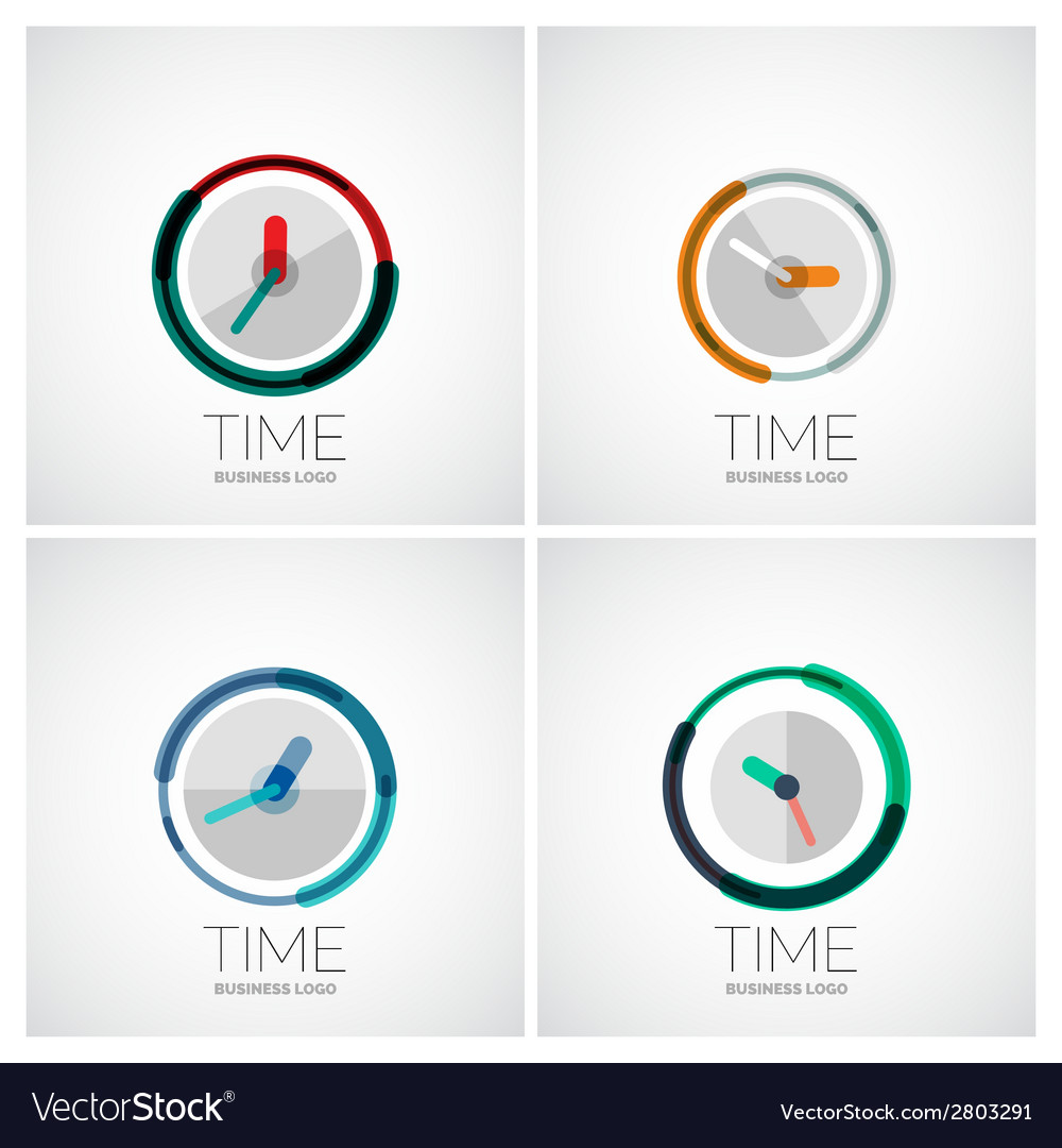 Set of clock time company logos vector | Price: 1 Credit (USD $1)