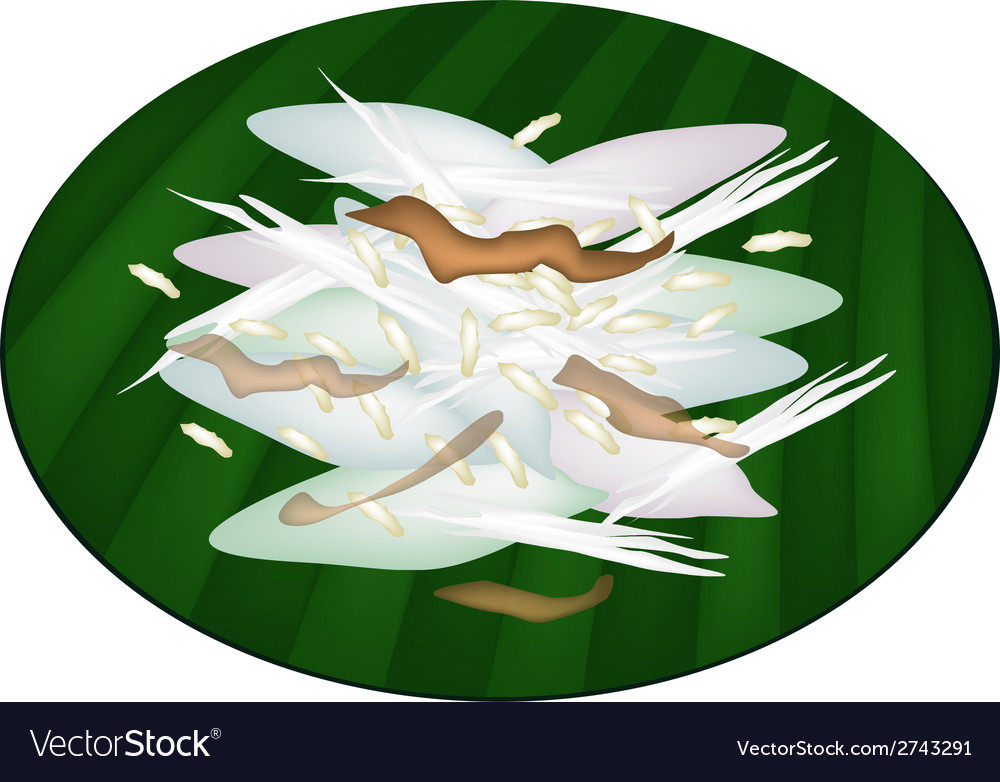 Thai sticky rice cake on green banana leaf vector | Price: 1 Credit (USD $1)