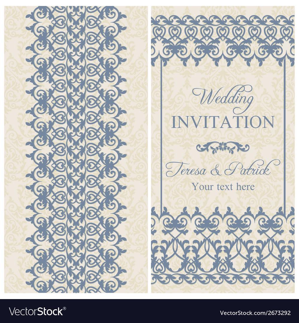 Baroque wedding invitation dark blue vector | Price: 1 Credit (USD $1)