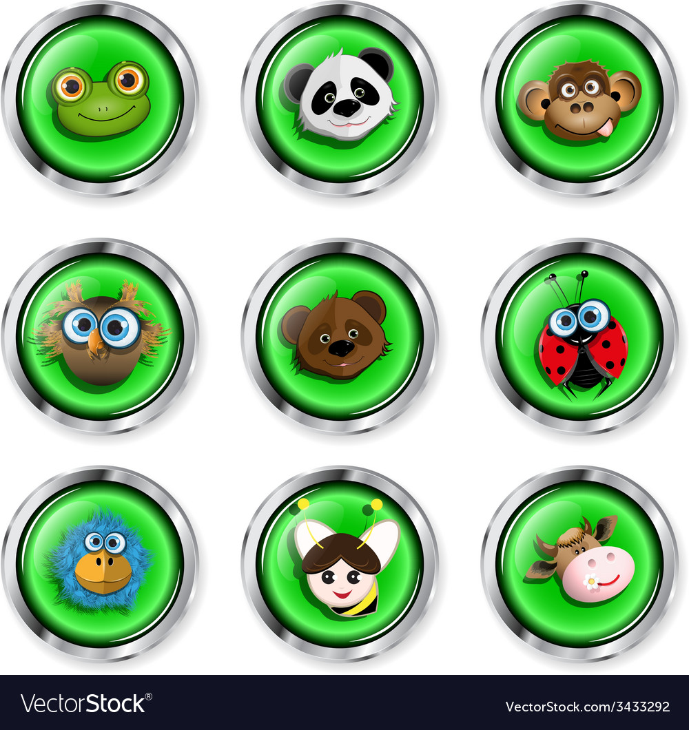 Cartoon animal icons vector | Price: 1 Credit (USD $1)