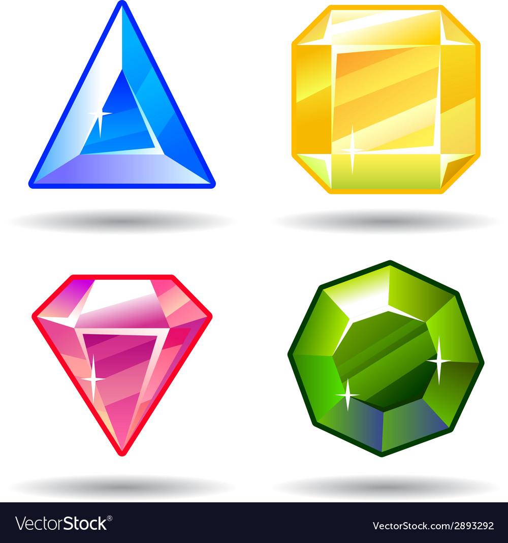 Cartoon gems and diamonds icons set vector   Price: 1 Credit (USD $1)