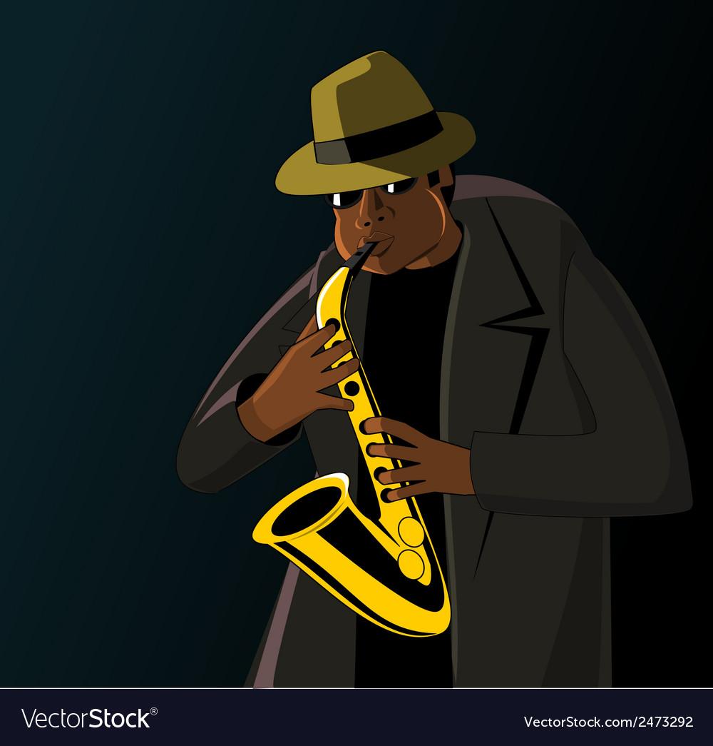Cartoon jazzman playing on a saxophone vector   Price: 1 Credit (USD $1)