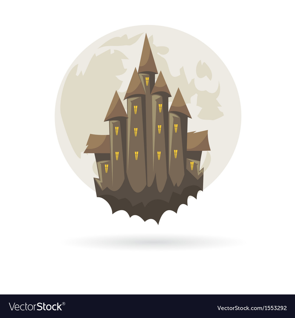 Castle with a moon isolated vector | Price: 1 Credit (USD $1)