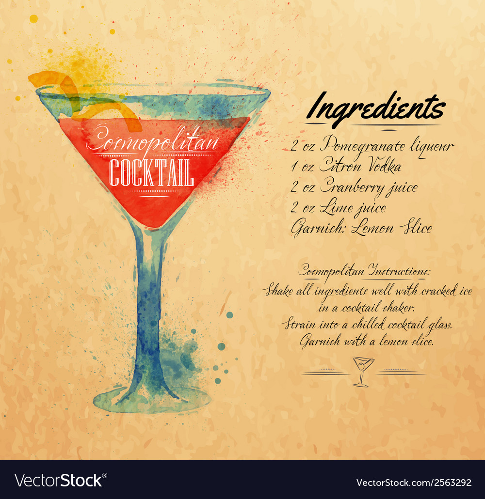 Cosmopolitan cocktails watercolor kraft vector | Price: 1 Credit (USD $1)