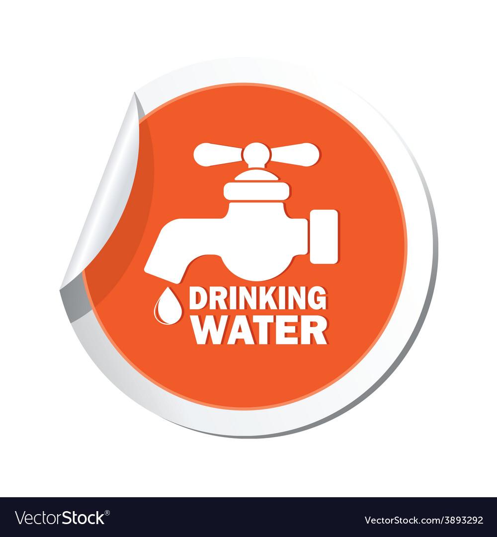 Drinking water orange label vector | Price: 1 Credit (USD $1)